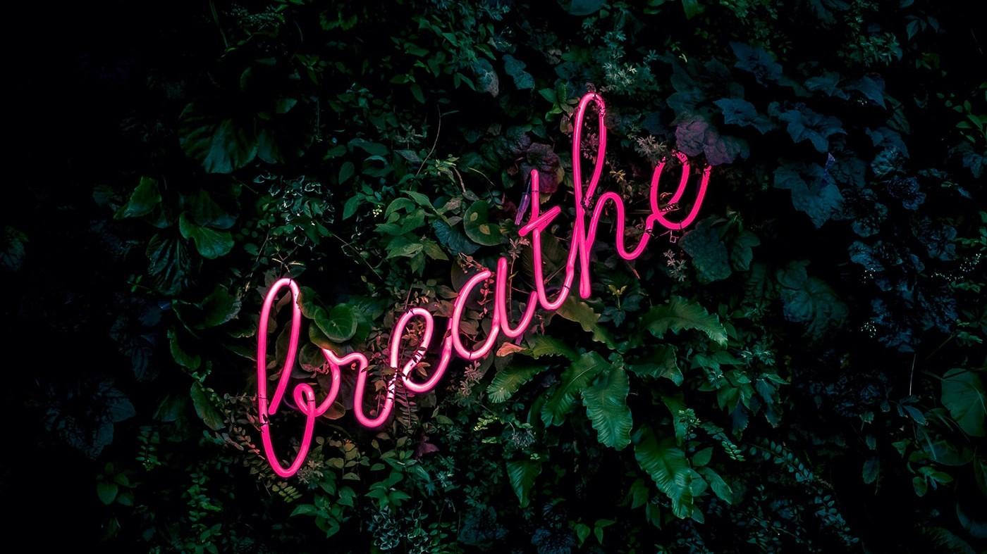 Breathe written in letters over plants